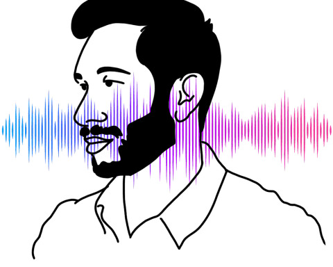 "A silhouette of Hrishikesh Hirway, host of ""Song Exploder,"" in front of a colorful sound wave."