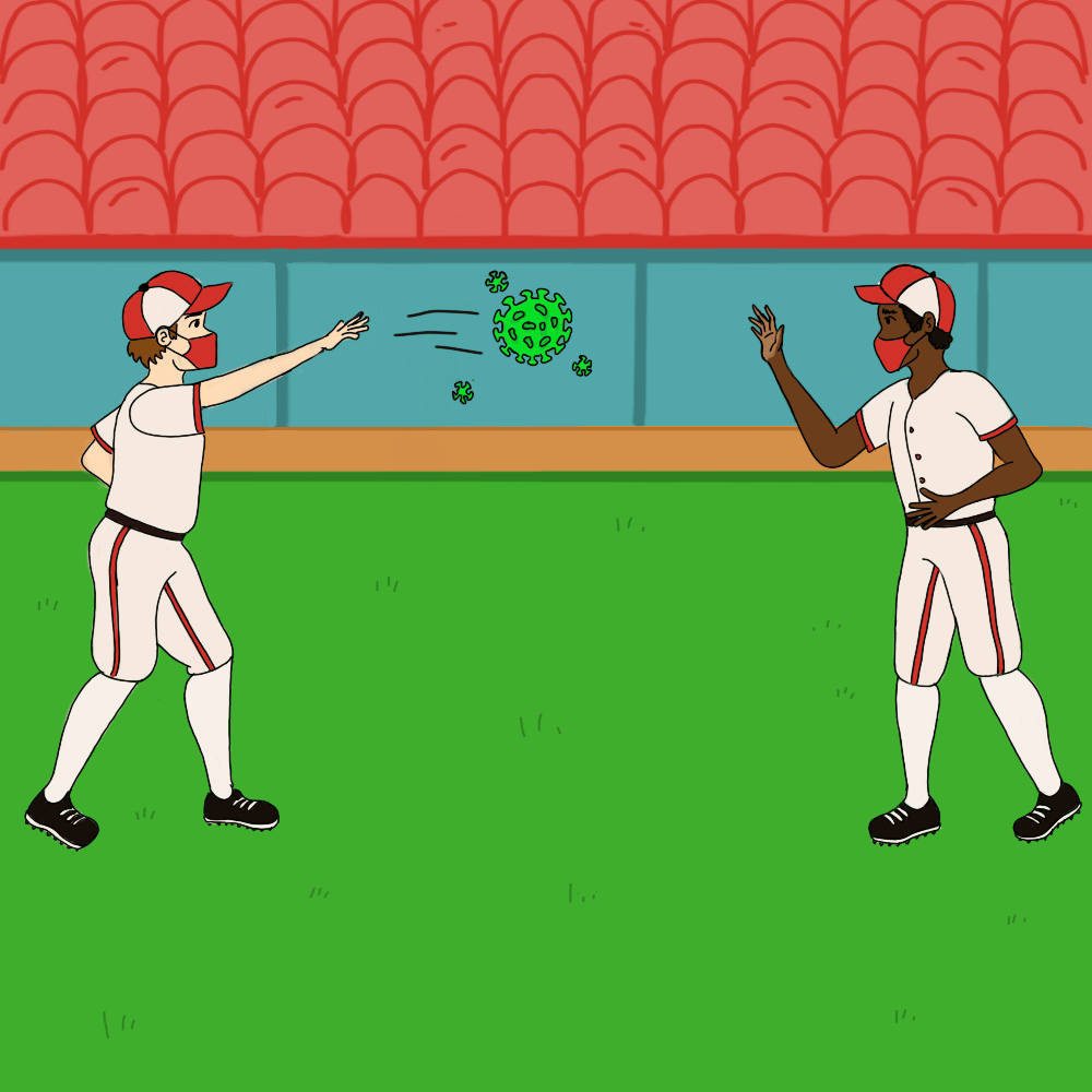 Two baseball players playing catch with a covid virus