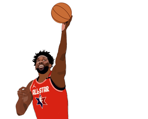 Joel Embiid in all-star jersey
