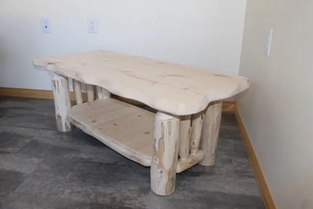 Coffee Table Live Edge with shelf