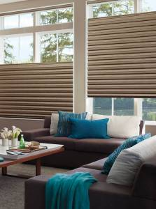 Check out the fluid, sculpted look of Solera® Soft Shades by Hunter Douglas. They're the only soft shades with cellular construction, and that means energy efficiency.