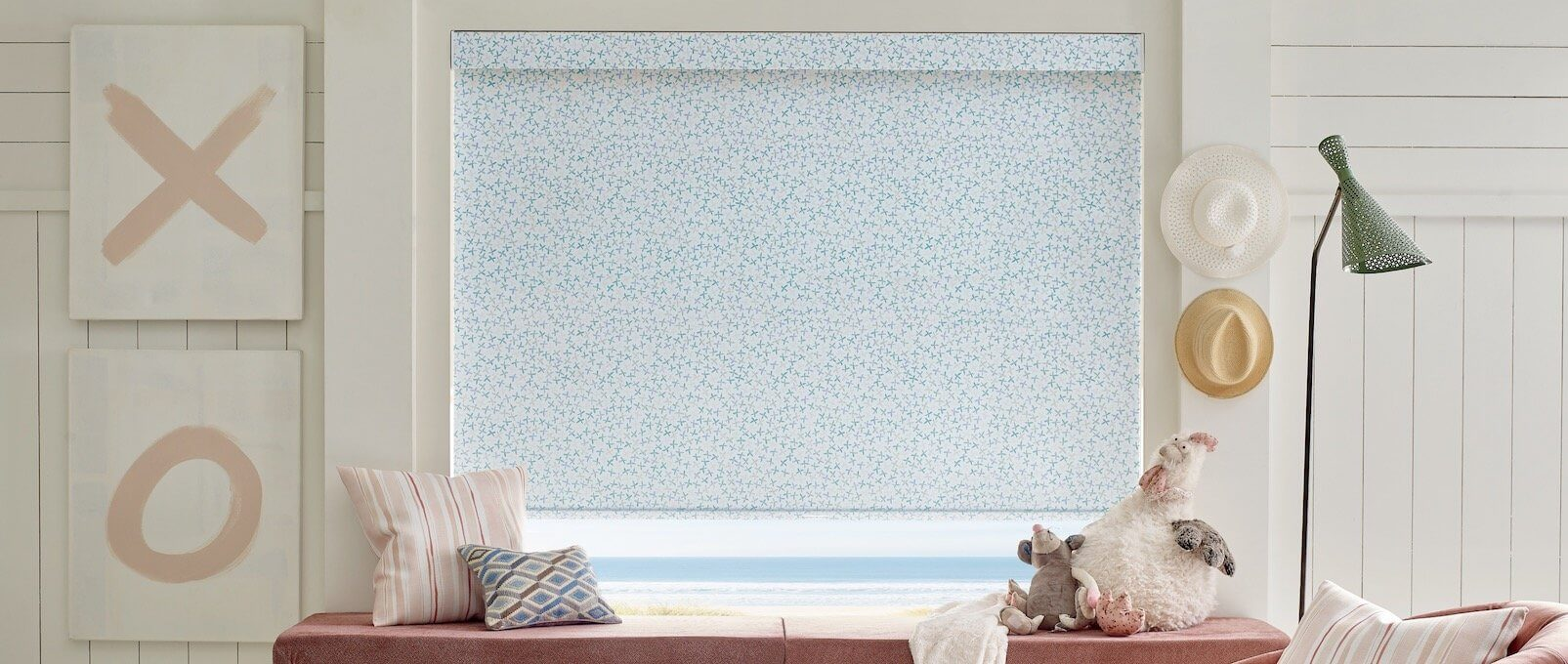 Designer Roller Shades, Floral Stamp - Kids Room