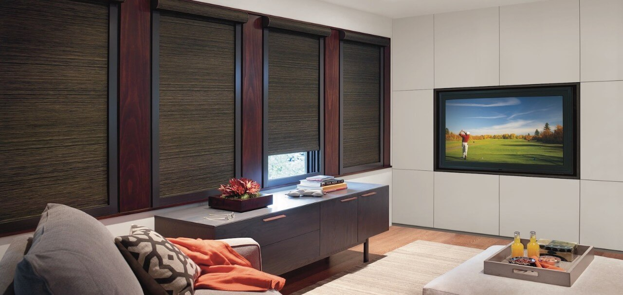 Designer Roller Shades Clutch Calais Media Room