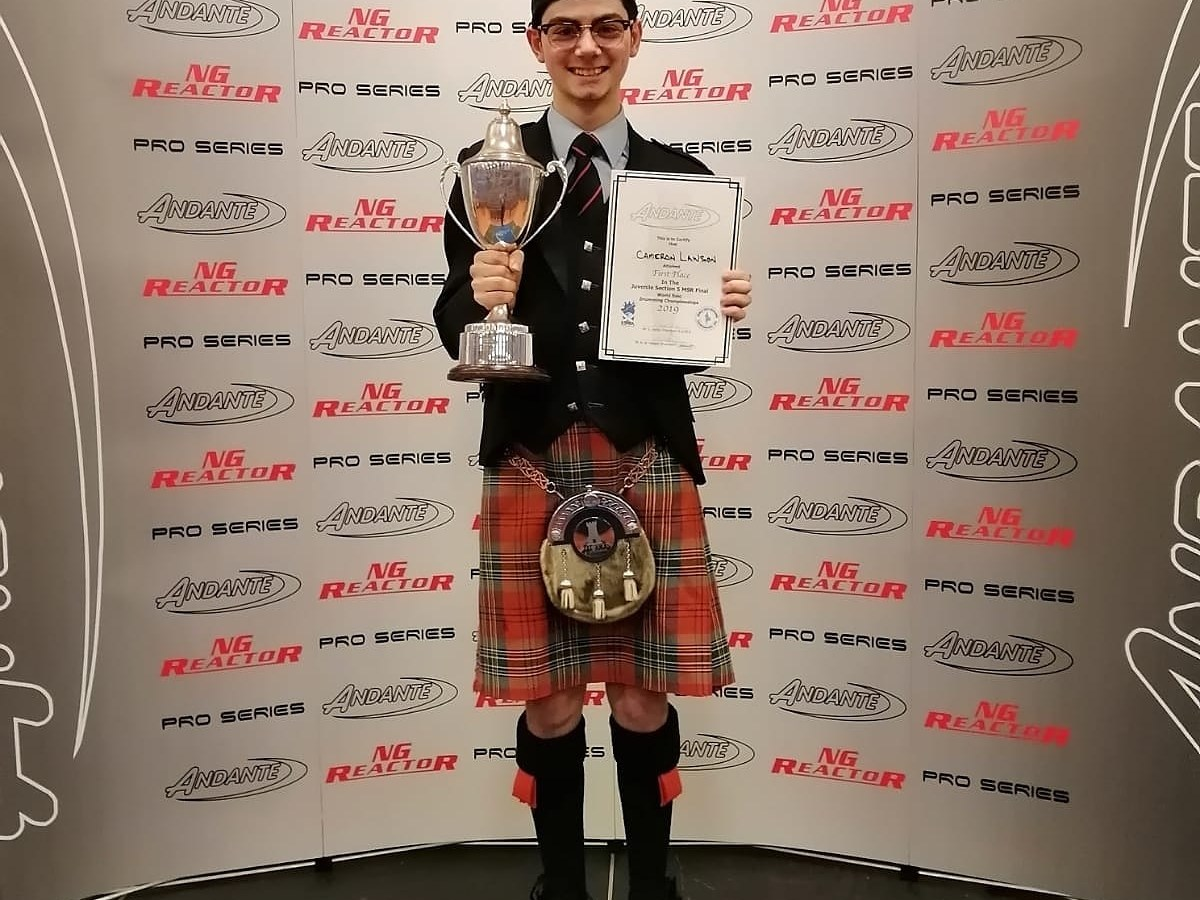 World champion Queensland drummer Cameron Lawson takes out the top spot in the World Juvenile Solo Drumming Championship in Glasgow on October 20, 2019.