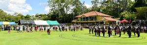 A pipe band competes at the medley competition circle during the 2018 Australian Pipe Band Championships at Brisbane Boys' College.