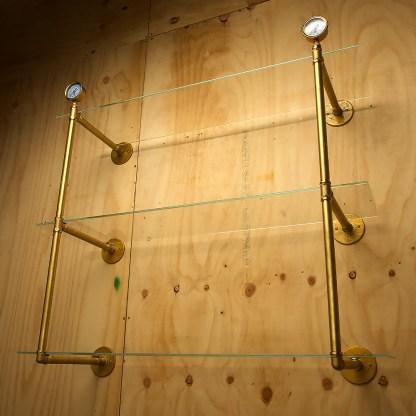 Industrial Solid Brass plumbing pipe multi level wall shelf