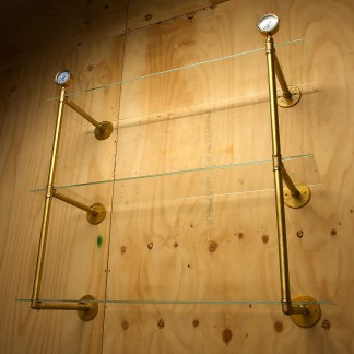 Industrial Solid Brass plumbing pipe multi level wall shelf
