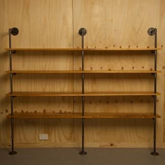 Industrial plumbing pipe four level floor shelf