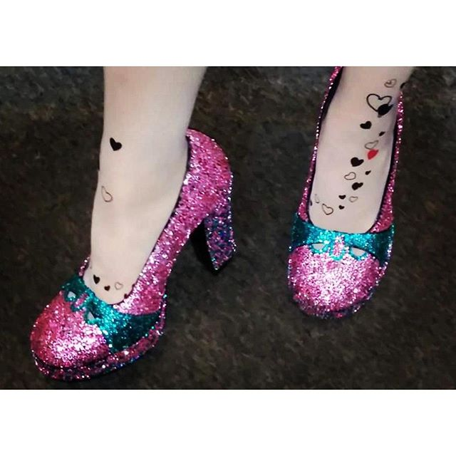 Rhinestone shoes I made for Hedwig on Broadway June 2014