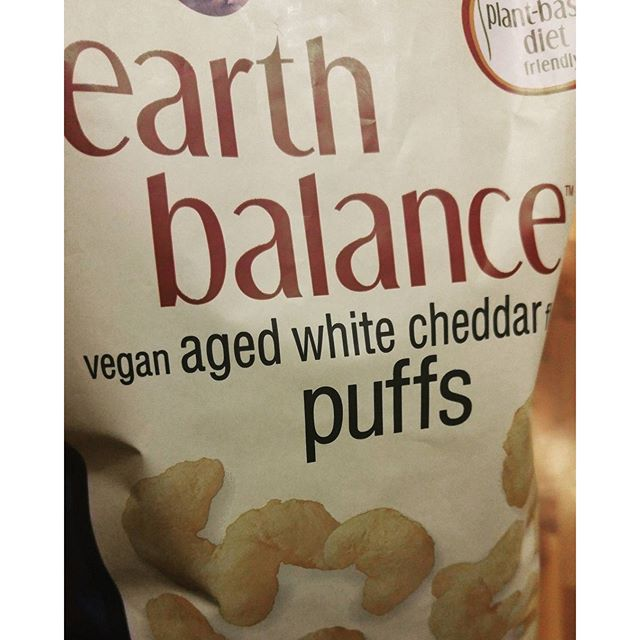 Can't find these anywhere near me so I got two bags.  Good way to learn portion control ;) #EarthBalance #VeganPuffs