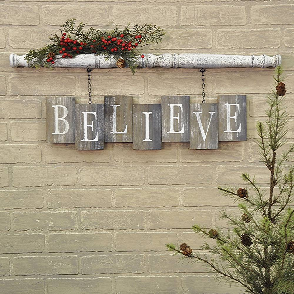 BELIEVE Barn Board Bricks With Spindle Wall Sign Piper