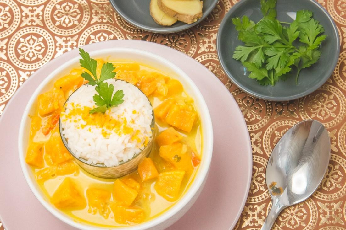 Süßkartoffel Curry mit Reis