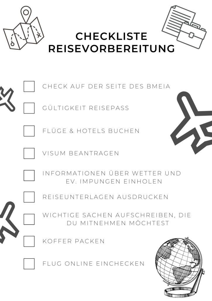 Checkliste Reisevorbereitungen