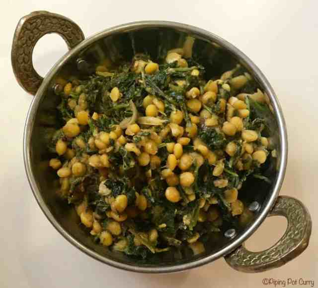 Kale Chana Dal Stir Fry Instant Pot