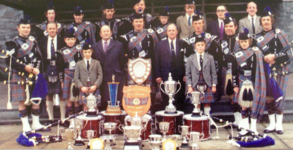 1974 - the end of the band's first season as Champion of Champions in G4. Bob Martin is front centre, Craig Walker is back fourth from right; Ross is standing 2nd from right