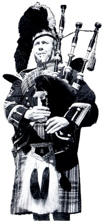 Donald Maclean in a pictured which first appeared in the Glasgow Herald newspaper and was subsequently used to promote RG Lawrie bagpipemakers