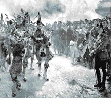 Major David Manson (right) as the First Canadian division come ashore in France 1915. The painting's title is Landing of the First Canadian Division at Saint-Nazaire, 1915, by Edgar Bundy (1862-1922)