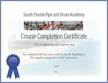 South Florida Academy certificate