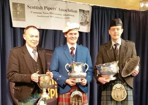 First prizewinners (l-r) Allan Russell, Graham Drummond and Ross Cowan with the historic SPA trophies