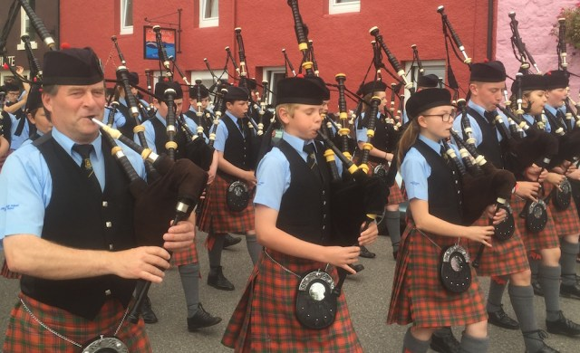 Oban High School Pipe Band led by P/M Angus MacColl. The young pipers and drummers were greatly appreciated at today's games at Tobermory