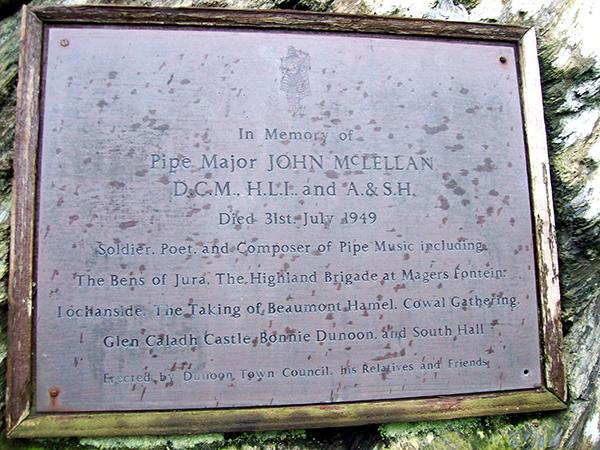 The plaque erected in John McLellan's memory
