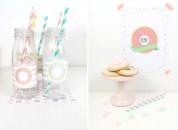 decoracion fiesta infantil descargables papeleria donut tematica color pastel invitacion botellas
