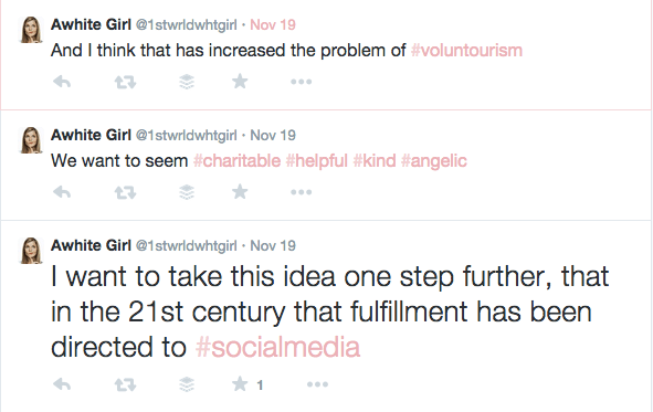 student brilliantly tweets essay on voluntourism and privilege  screen shot 2014 11 24 at 9 04 57 pm