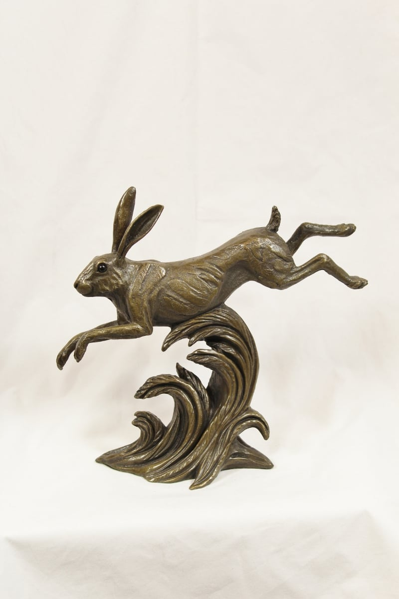 bronze resin leaping Hare