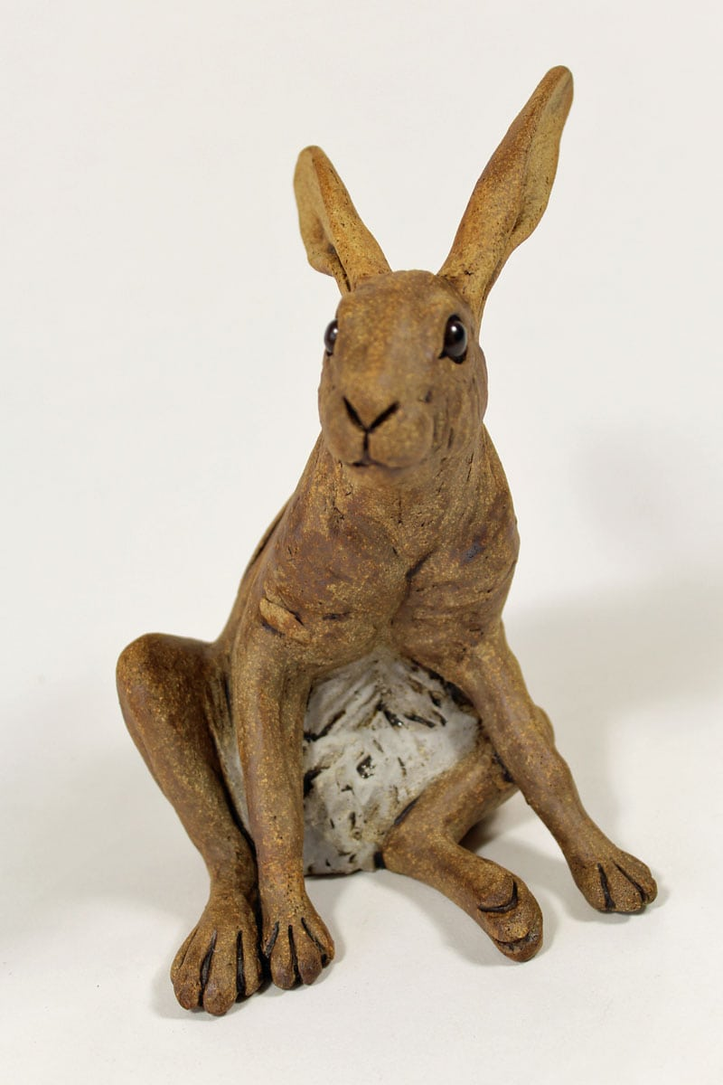 Startled Hare - ceramic clay sculpture