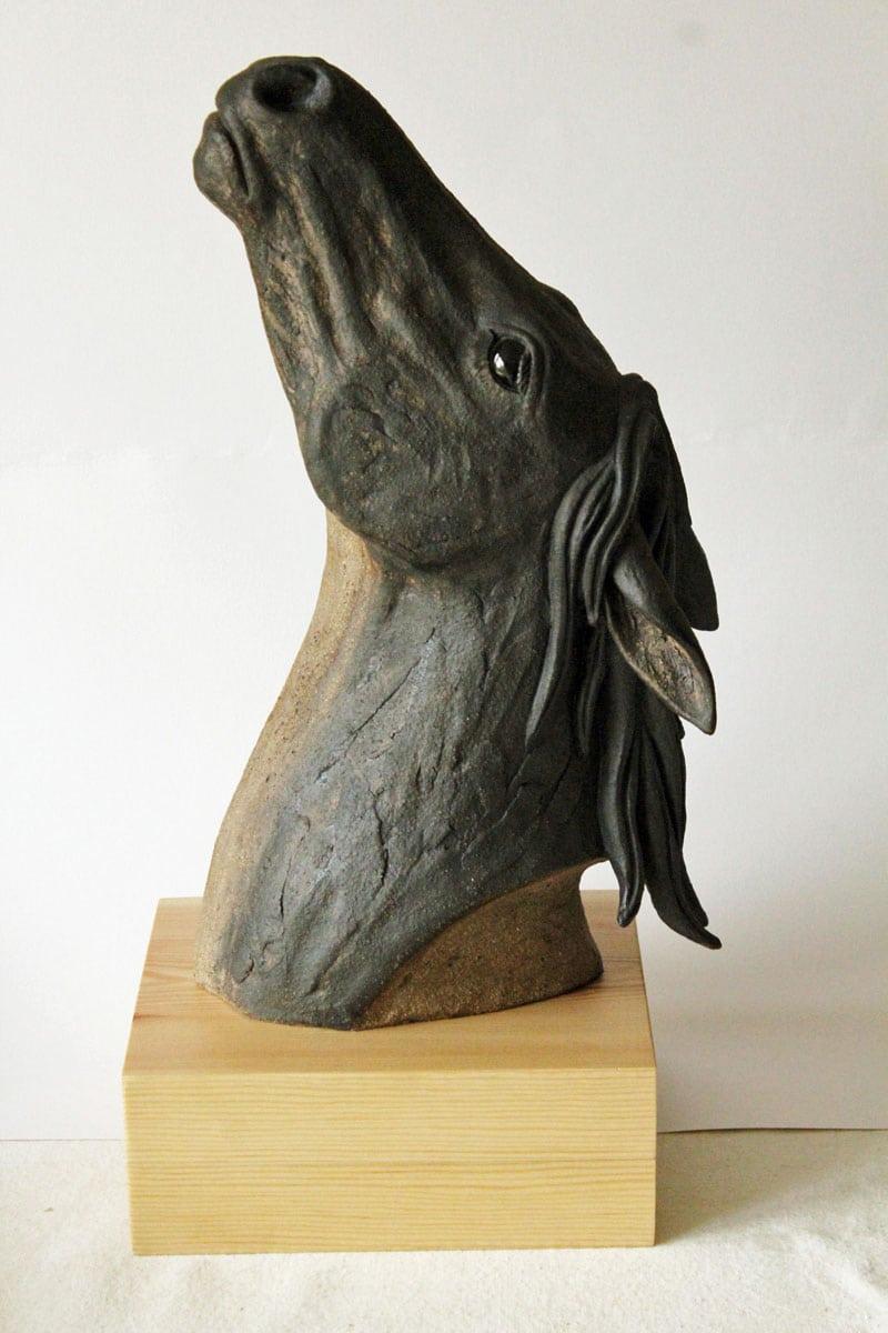 Horses head black - ceramic clay sculpture