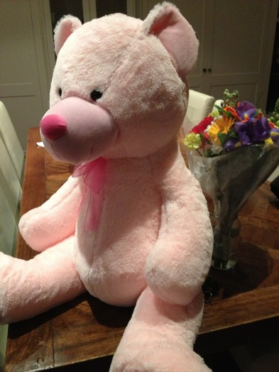 The big pink teddy provided by all the big boys pooling their tickets
