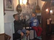 Dinner at Stavros Tavern, Albert Park (Greek restaurant) - Patrick and Charlie entertaining us