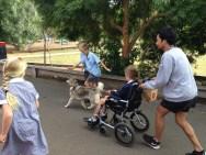 Getting towed around school by Jeff's Husky