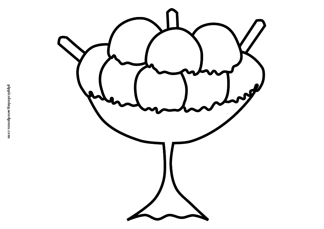 Ice Cream Cup Coloring Page Sketch Coloring Page
