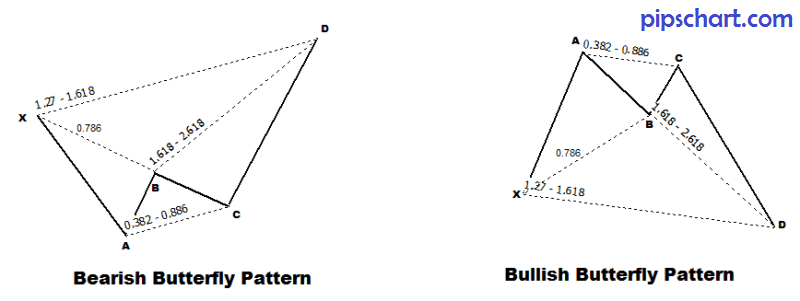 Bullish and Bearish butterfly patterns example