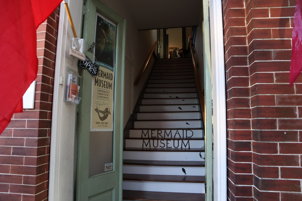 The staircase that you walk up to get inside the Mermaid Museum in Berlin Maryland