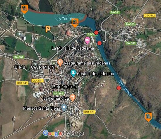 imagen satélite del recorrido de la ruta de piraguas en Salamanca.