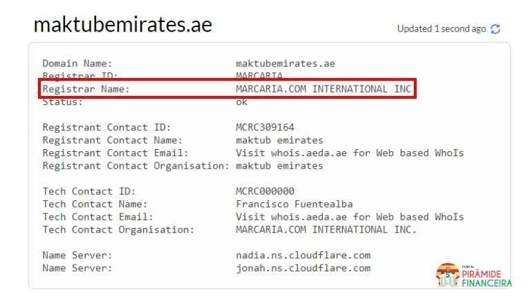 Maktub Emirates Piramide? Fraude? Golpe? | Whois