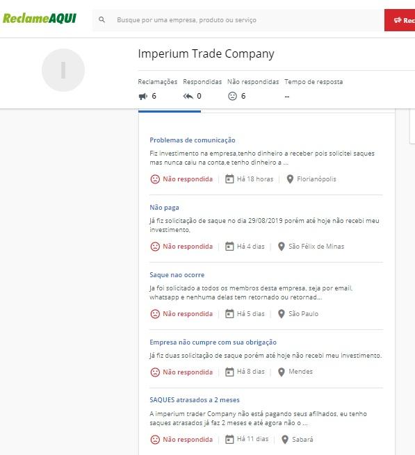 imperium trader company acabou parou de pagar caiu scam golpe