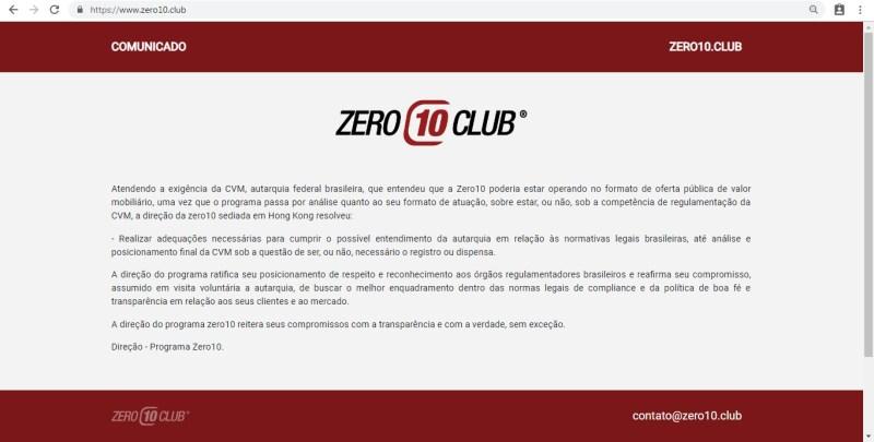 zero10 club parou pagar caiu furada golpe site fora do ar