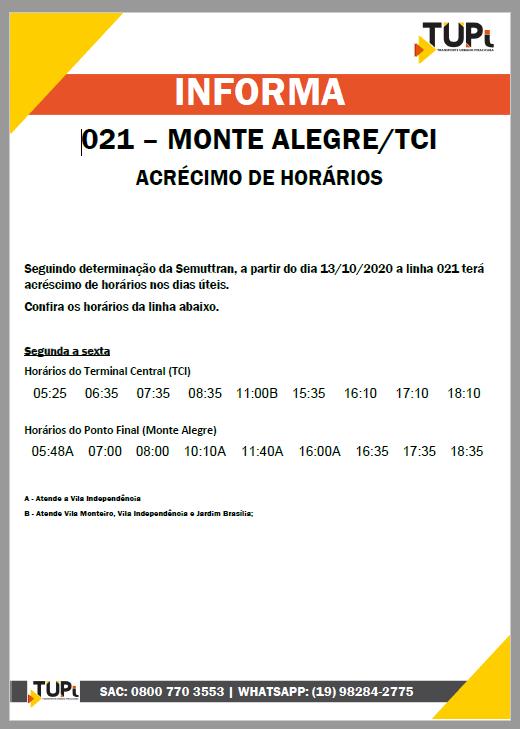 TUPi anuncia acréscimo de horários em linha que atende a região do Monte Alegre