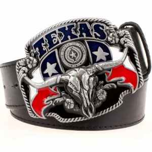Skull Belt Buckle with Texas Black
