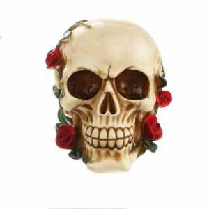 Flower skull statue