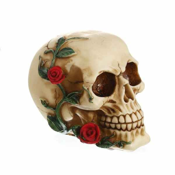Flower skull statue side