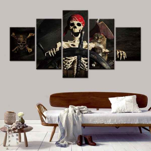 Pirate skeleton painting on wall