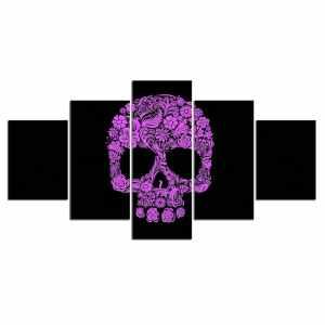 Purple sugar skull painting