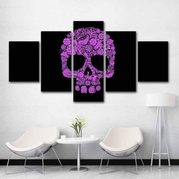 Purple sugar skull painting on wall