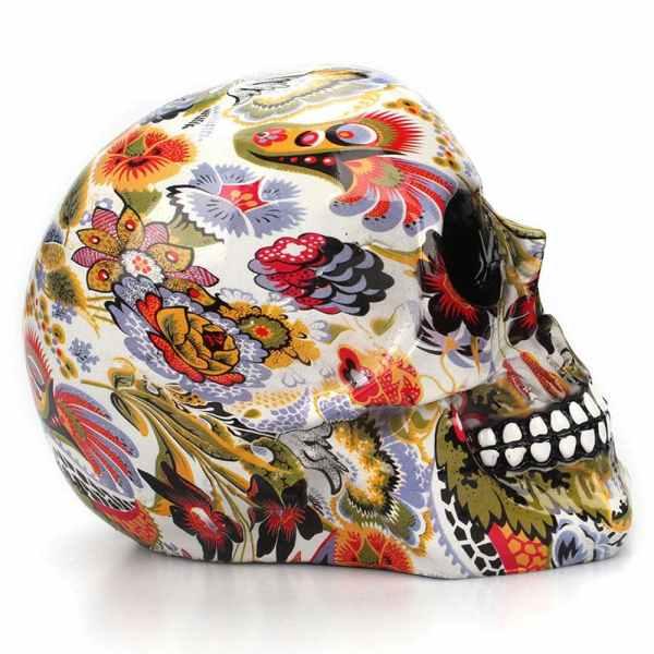Skull flowers decor side