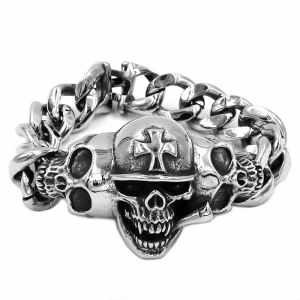 Biker skull bracelet mens