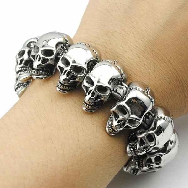 Wearing Biker Skull Charm Bracelet